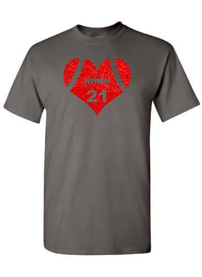 Football Mom Shirt With Bling Red Football Heart
